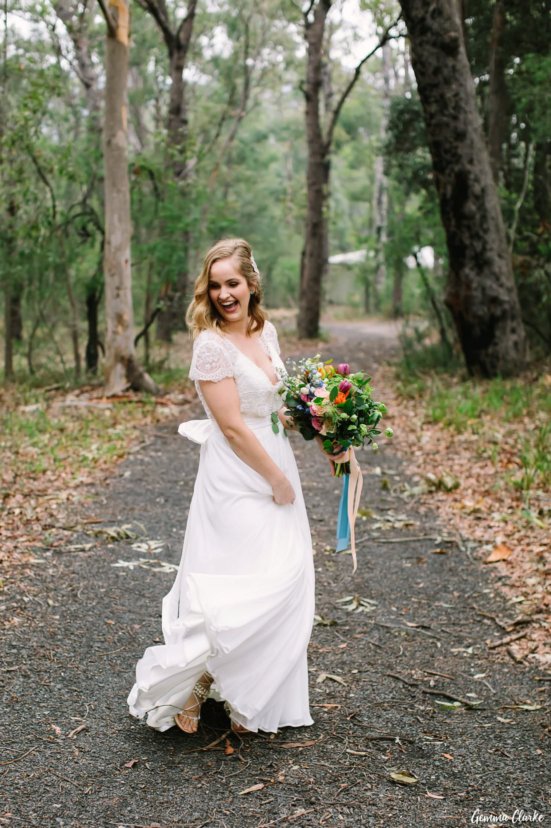 The bride was so excited and carefree at her Kangaroo Valley Winter Wedding