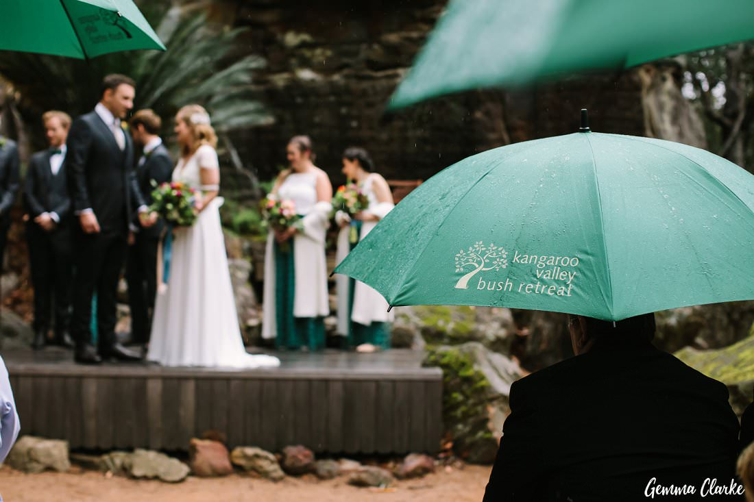 The Bush retreat provides umbrellas for the guests when it is raining at this Kangaroo Valley Winter Wedding