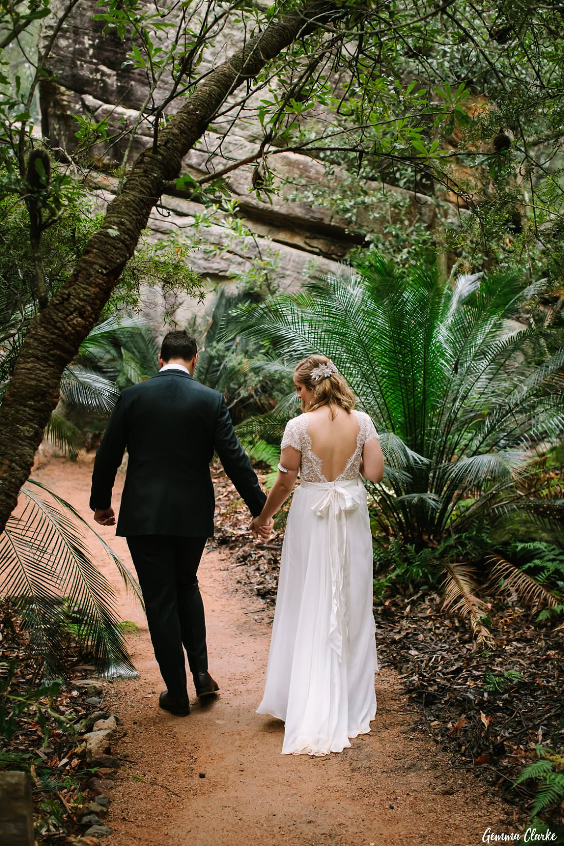 Walking through the bush at their Kangaroo Valley Winter Wedding