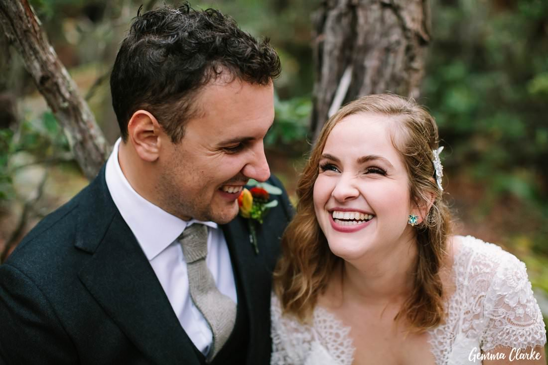 Big smiles from ear to ear as they sit quietly in the bush at their Kangaroo Valley Winter Wedding