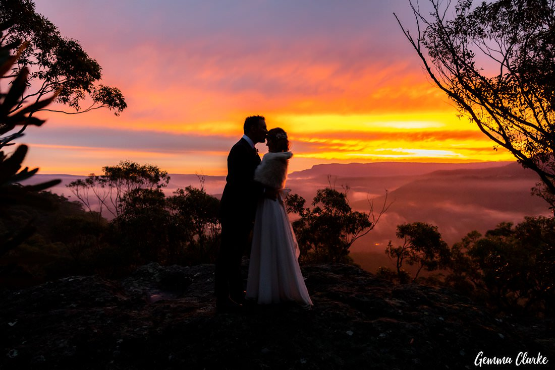 My favourite moment as Harry kisses Jessie's forehead during the sunset at their Kangaroo Valley Winter Wedding