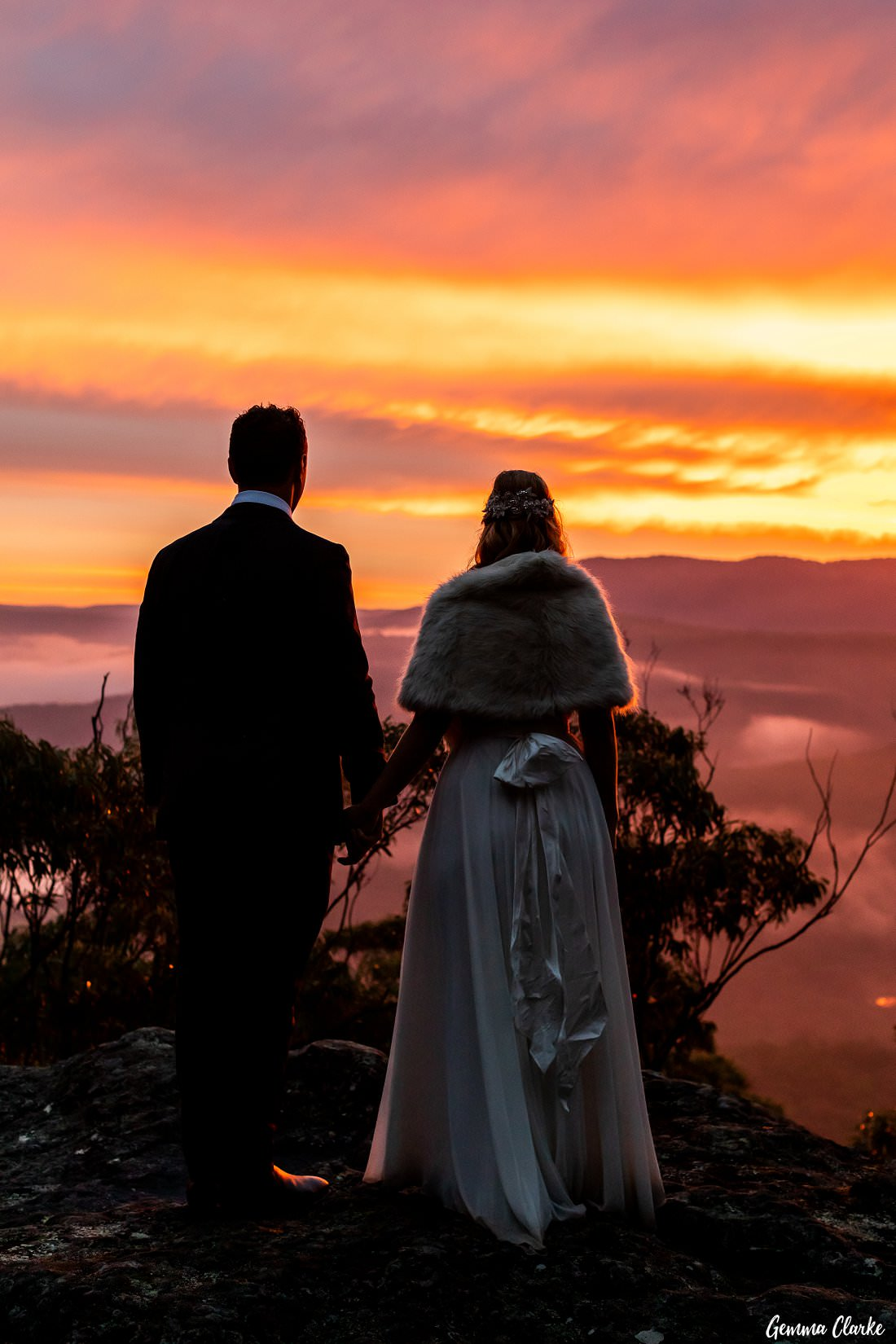 The beautiful colours of the sunset were this vibrant at this Kangaroo Valley Winter Wedding