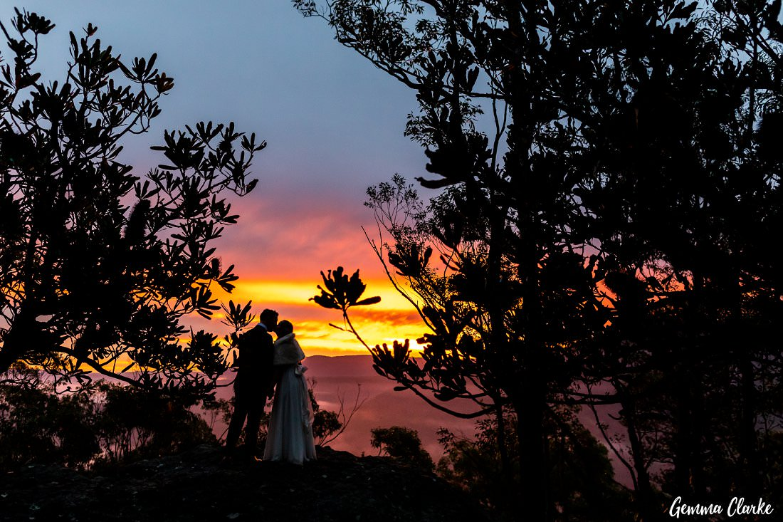 Stunning view over the valley and sunset at this Kangaroo Valley Winter wedding