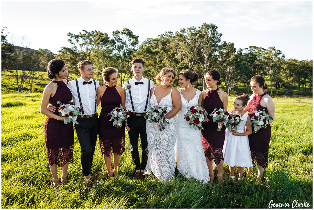Gorgeous bridal party in the meadow on the top of the hill at this Ottimo House Wedding in Sydney