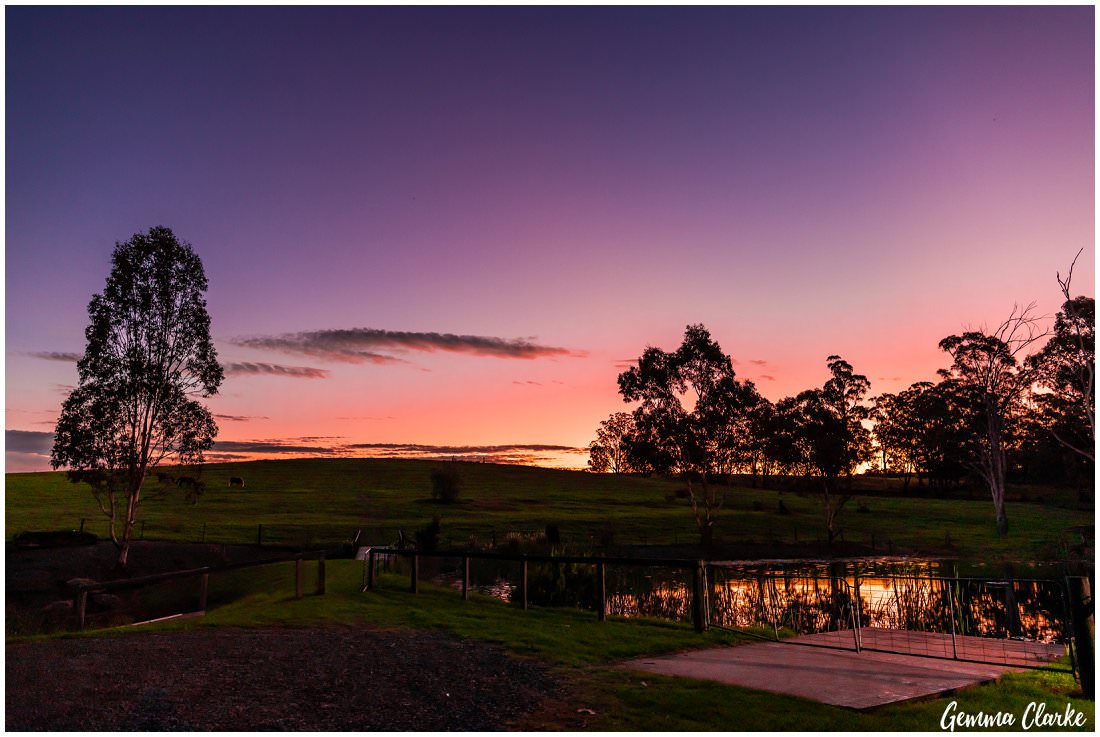 Stunning sunset of pinks and purples over the hill at this Ottimo House Wedding