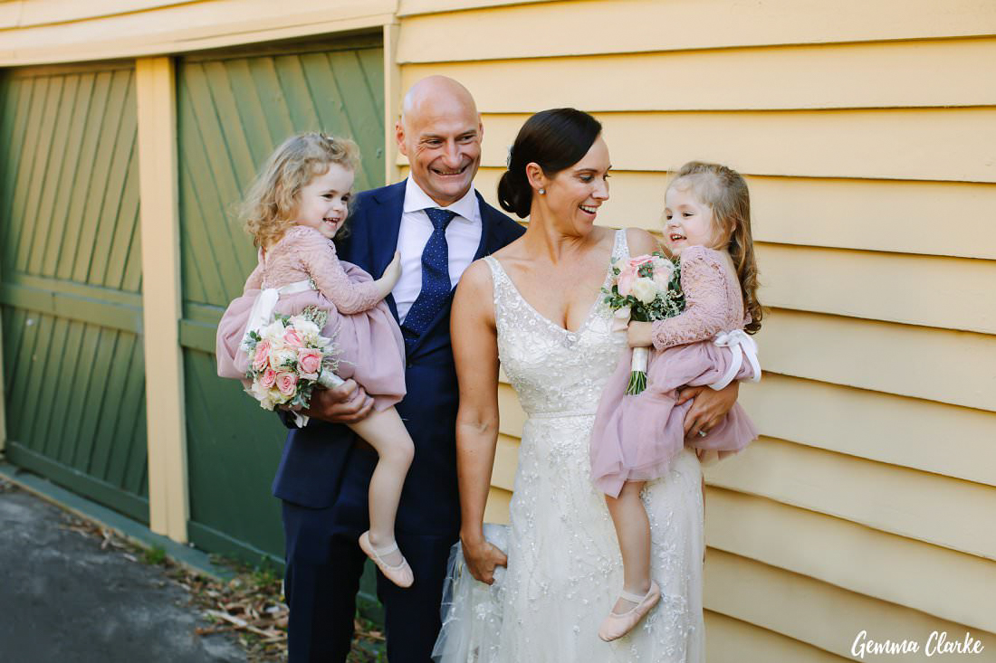 The people who really stole the show - their twin girls - at this Manly Yacht Club Wedding