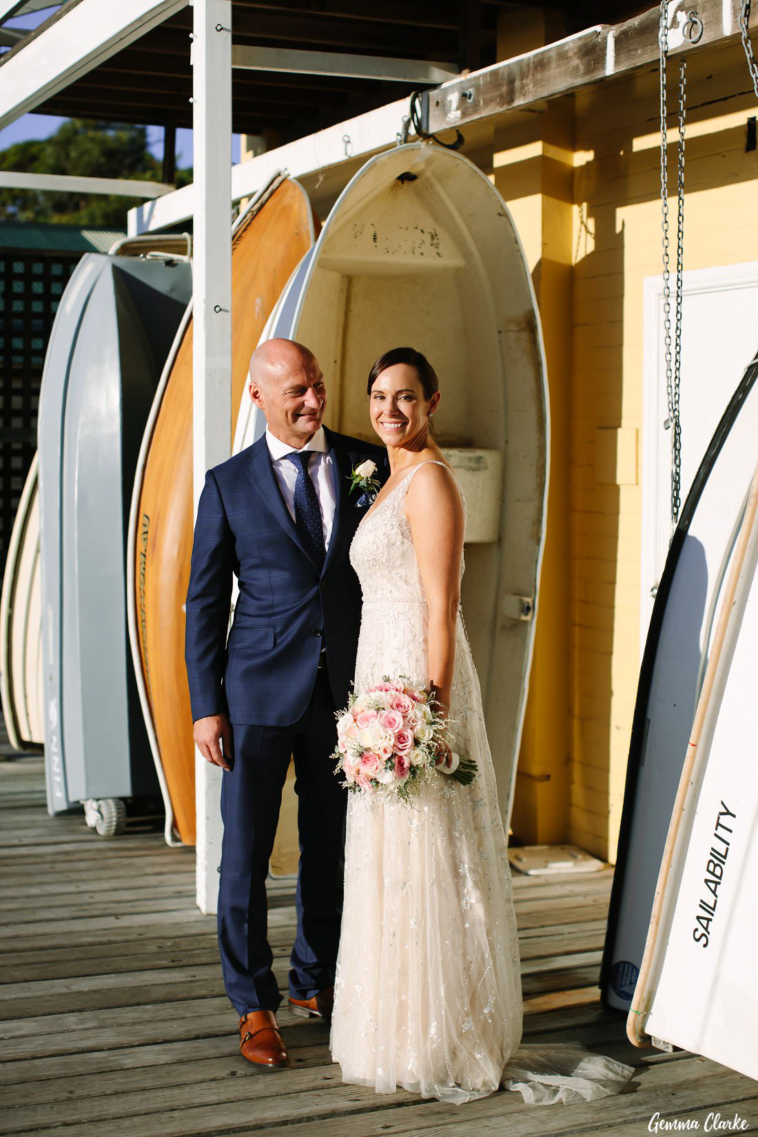 Naomi and Mark were grinning from ear to ear after their nuptials and enjoyed the sunshine on the wharf at their Manly Yacht Club Wedding