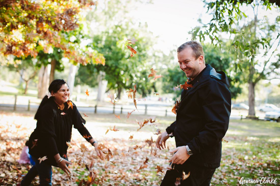 Time for mum and dad to have some fun with the leaves at this Parramatta Park family portraits photo session