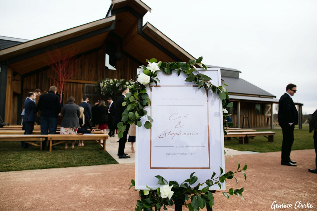The groom designed the gorgeous signs at The Stables Wedding at Bendooley Estate