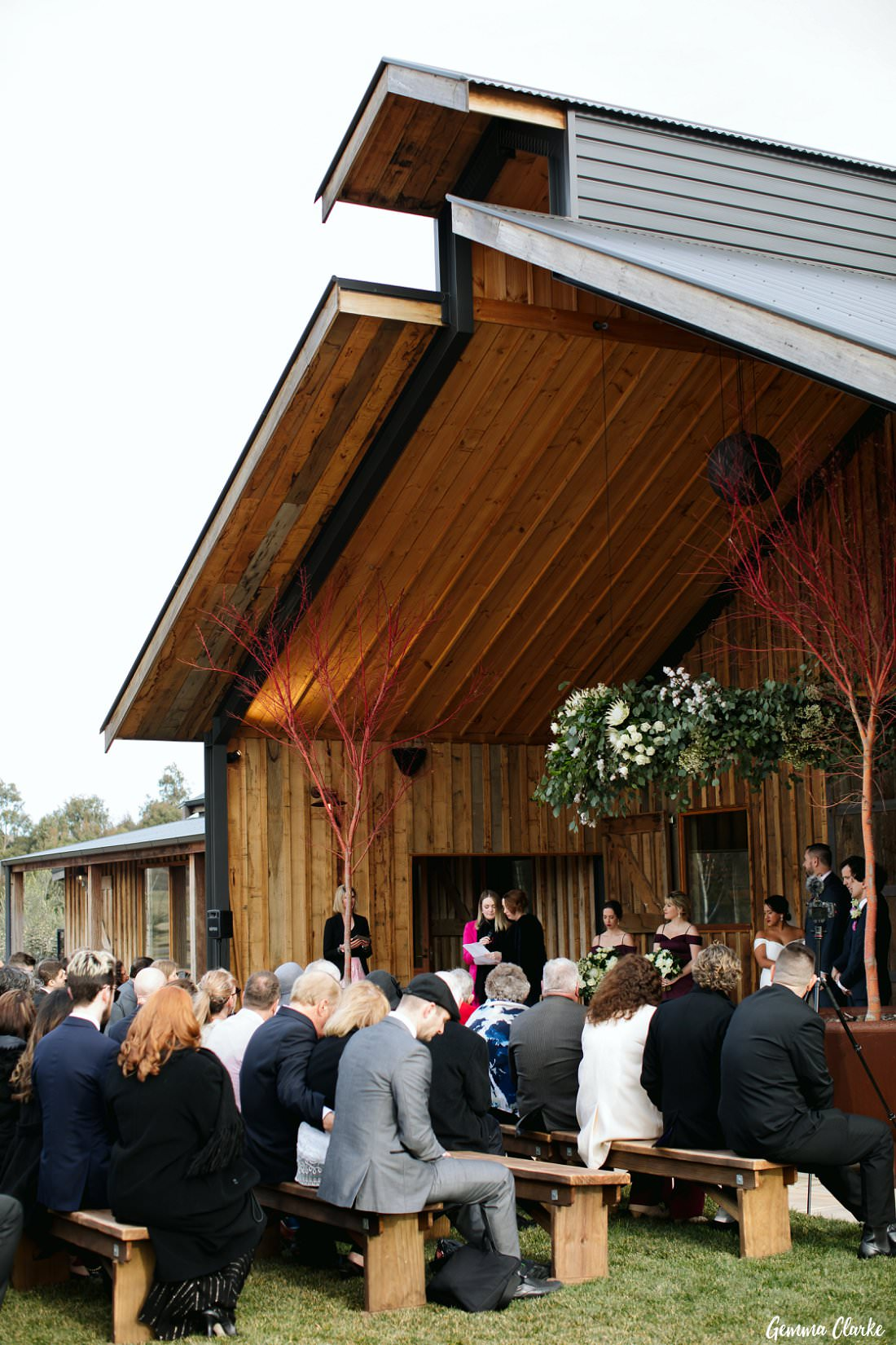 The ceremony during the readings at The Stables Wedding