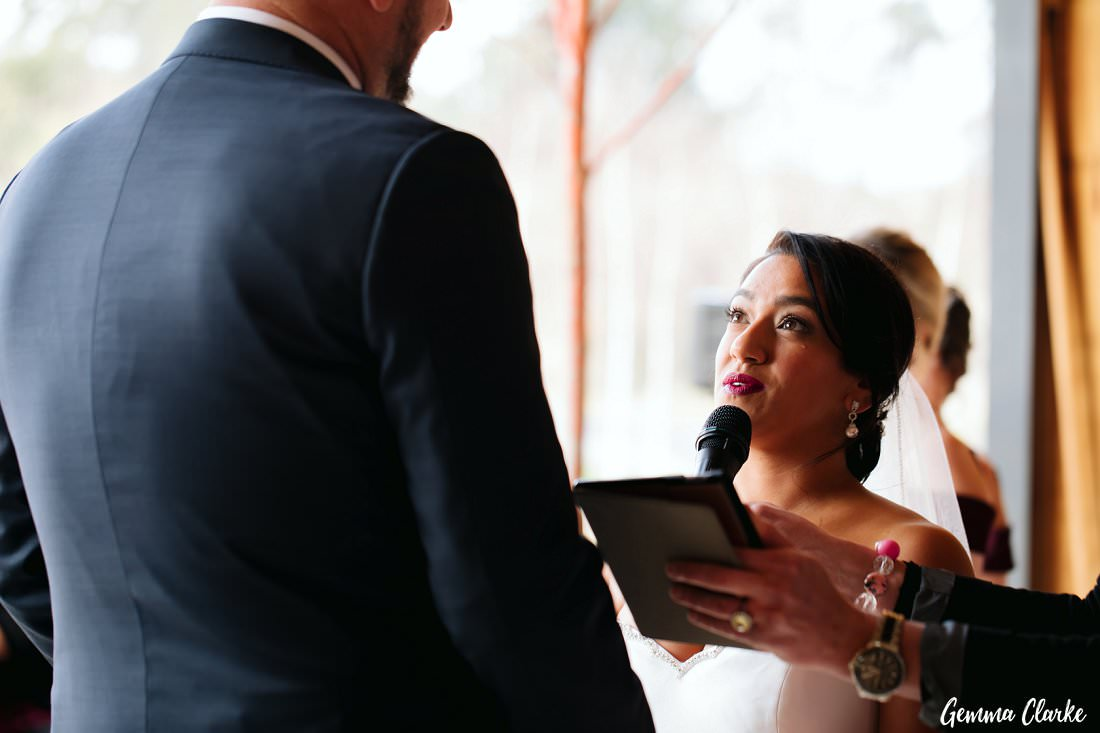 The bride's tear as she says her personal vows to her new husband at The Stables Wedding