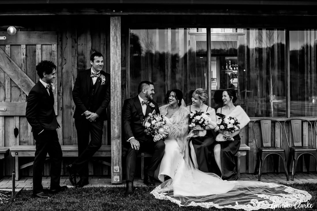Bridal party hanging around the front at The Stables Wedding at Bendooley Estate