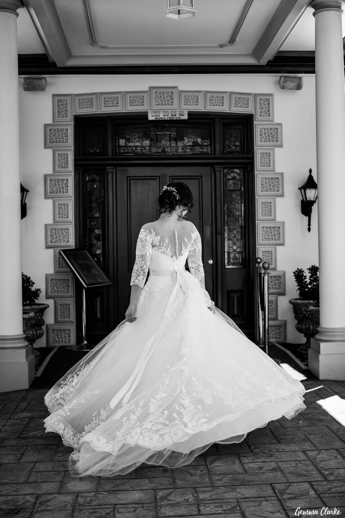 Stunning bride in traditional lace wedding dress at her Gardens on Forest Wedding
