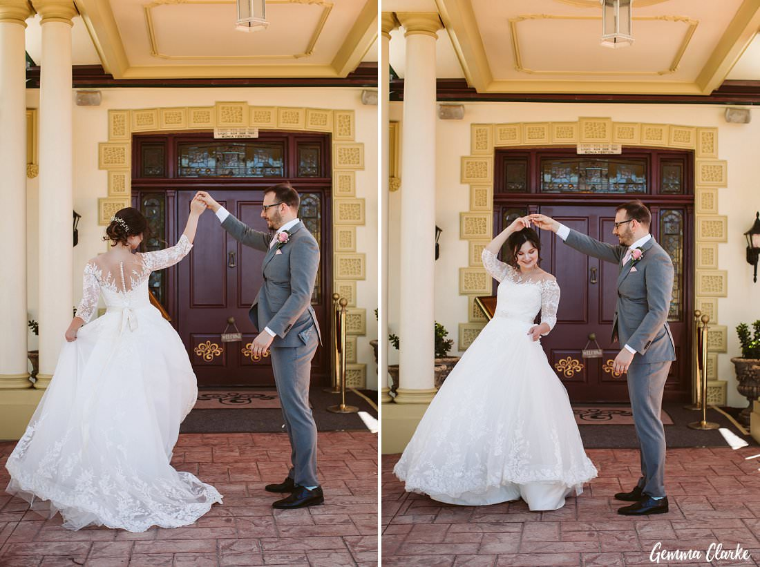 Dancing with so much joy on their Gardens on Forest Wedding day!