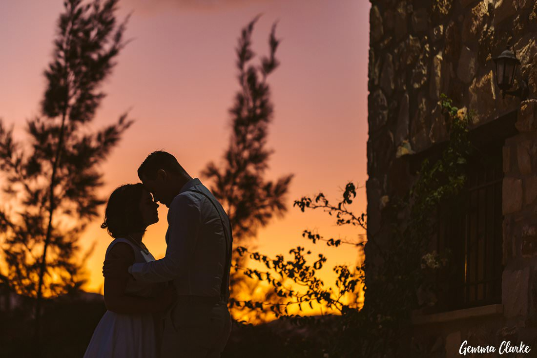 The sunset was magical and the bride and groom soaked it all in at their Greek Villa Wedding