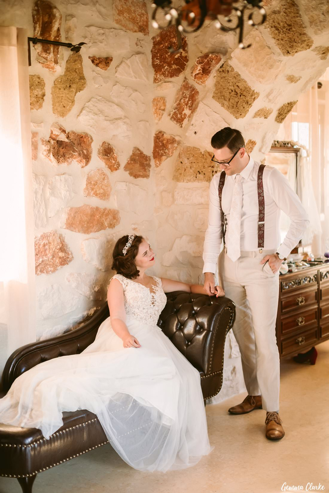 The loving glances are absolutely real, this couple are besotted with each other at their Greek Villa Wedding!