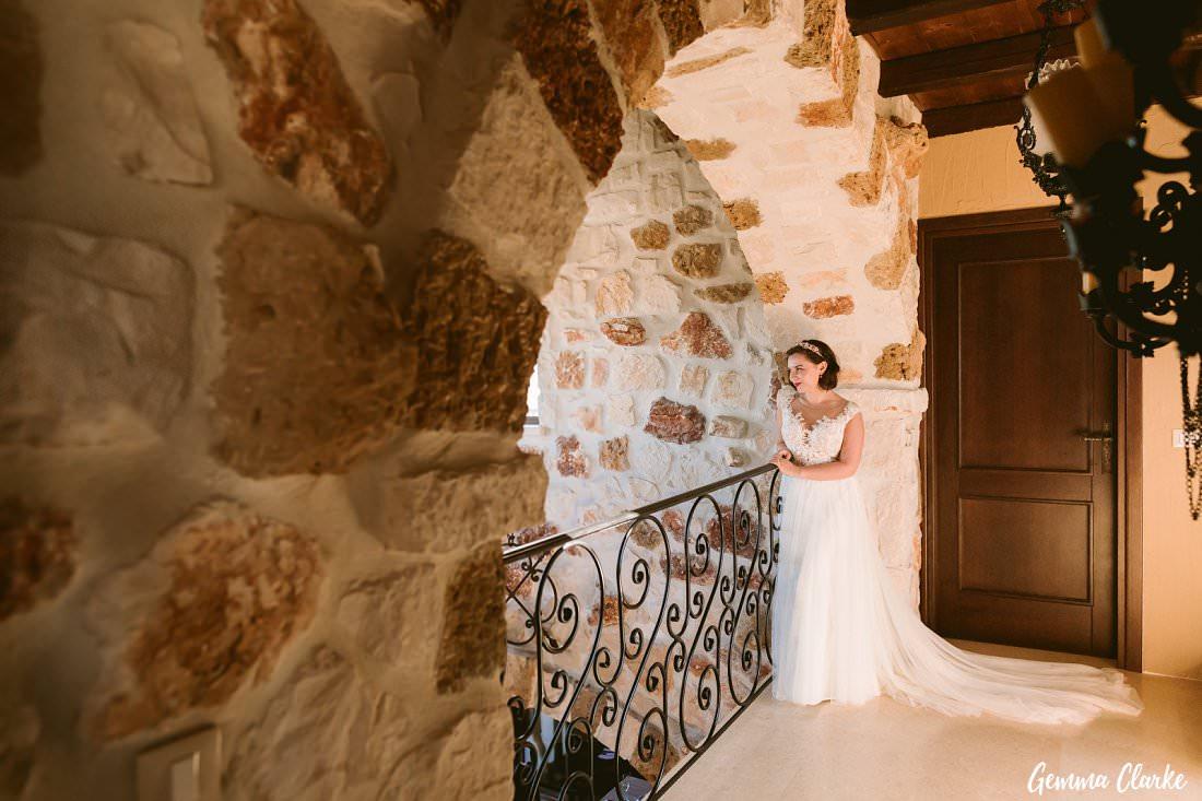 Stunning bridal portrait inside the Greek Villa wedding