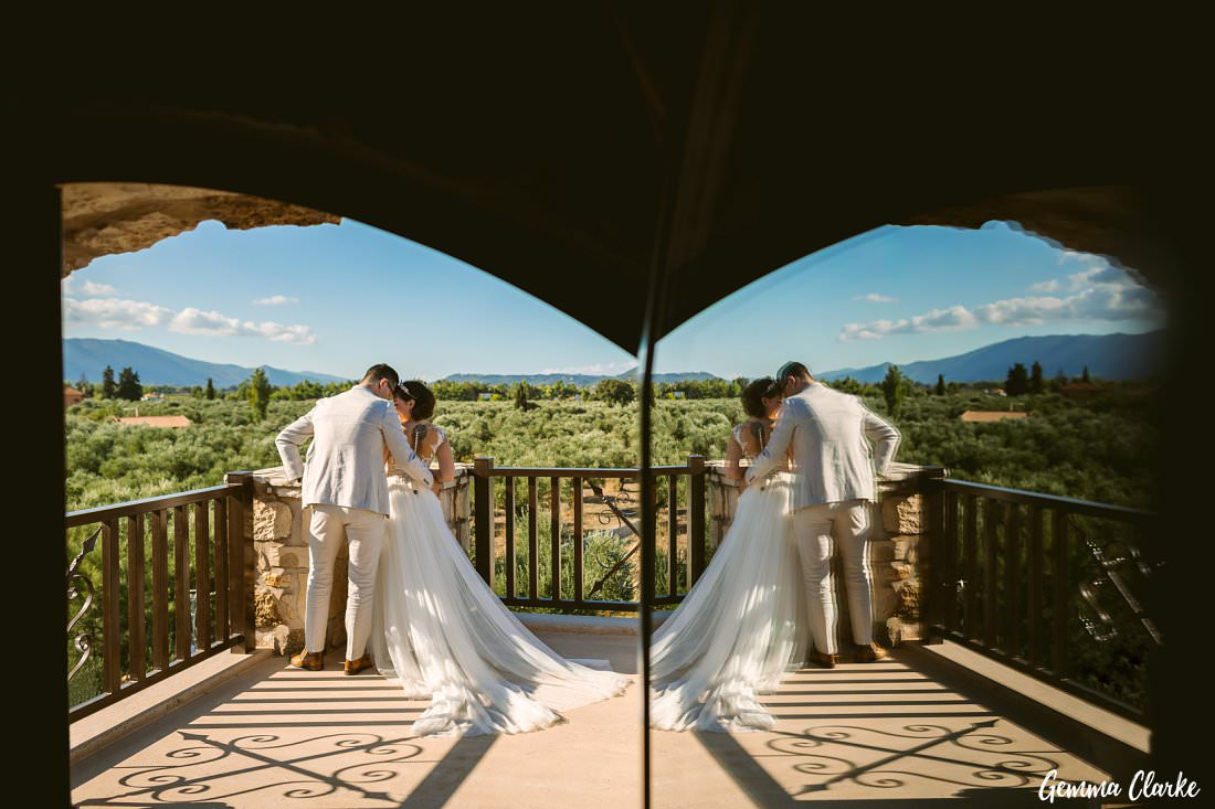 It'a all about the reflection at this Greek Villa Wedding