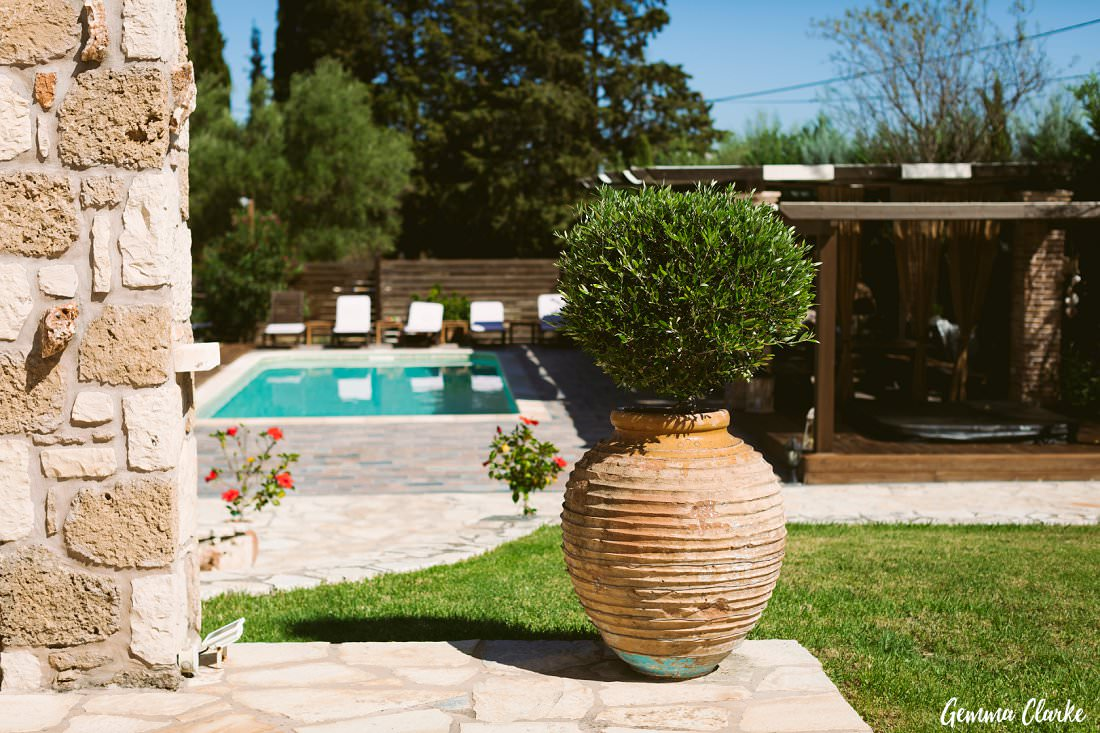 The perfect spot for relaxation and a dinner with friends and family for a Greek Villa Wedding
