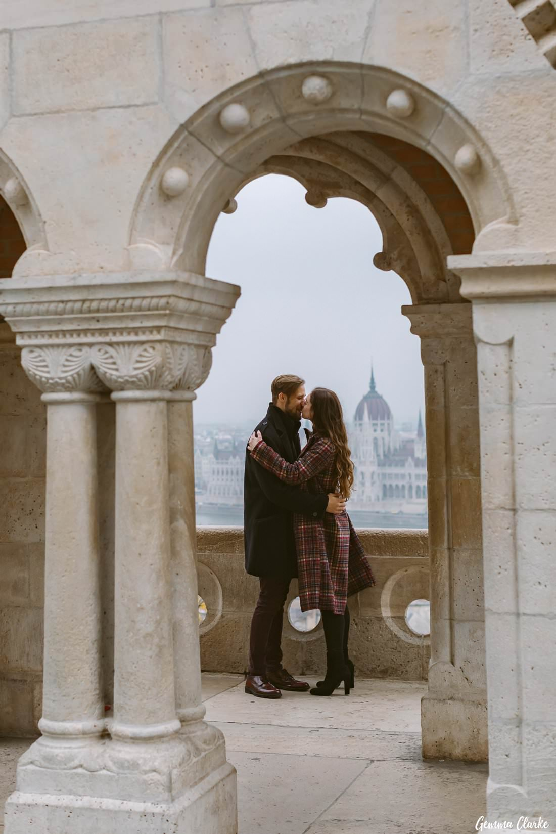 Fisherman's Bastion is a beautiful spot for a panoramic view over Budapest and also to kiss too!
