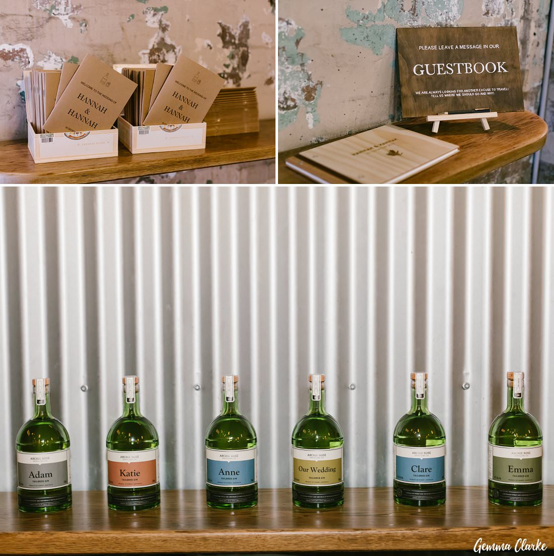 Customised Gin bottles by Archie Rose Distillery for the bridal party at this wedding