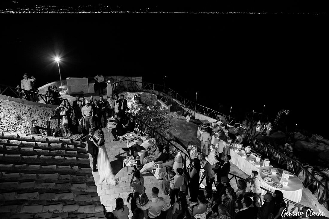 The first dance in the open air at night at Torre la Cerniola at this Italian Destination Wedding