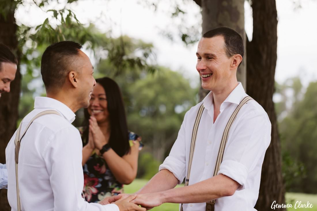 These two grooms exchanging vows at their intimate Sydney Park Wedding