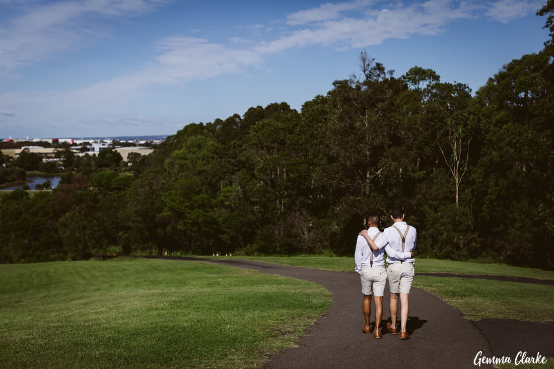 A stroll with these two grooms in their matching outfits after their ceremony at their Sydney Park Wedding