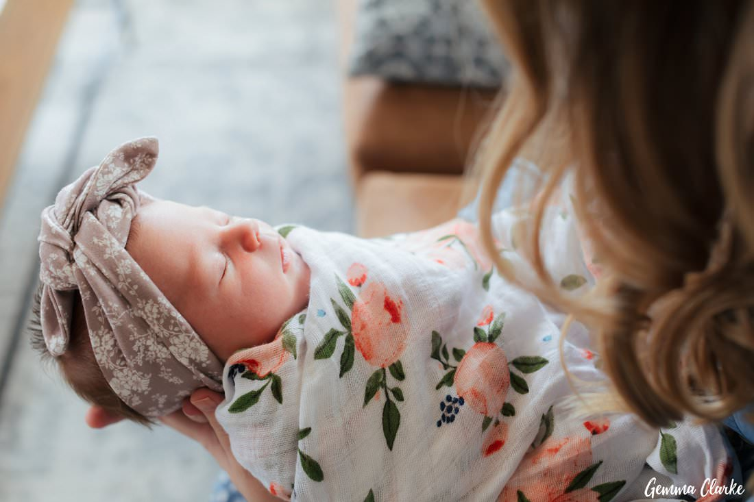 Sweet little Willow wrapped up with lots of Love in these At Home Newborn Photos