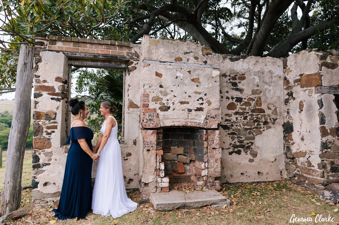 Beautiful stone ruins provide the backdrop for some romantic photos for these brides at their Bush Bank Kiama Wedding