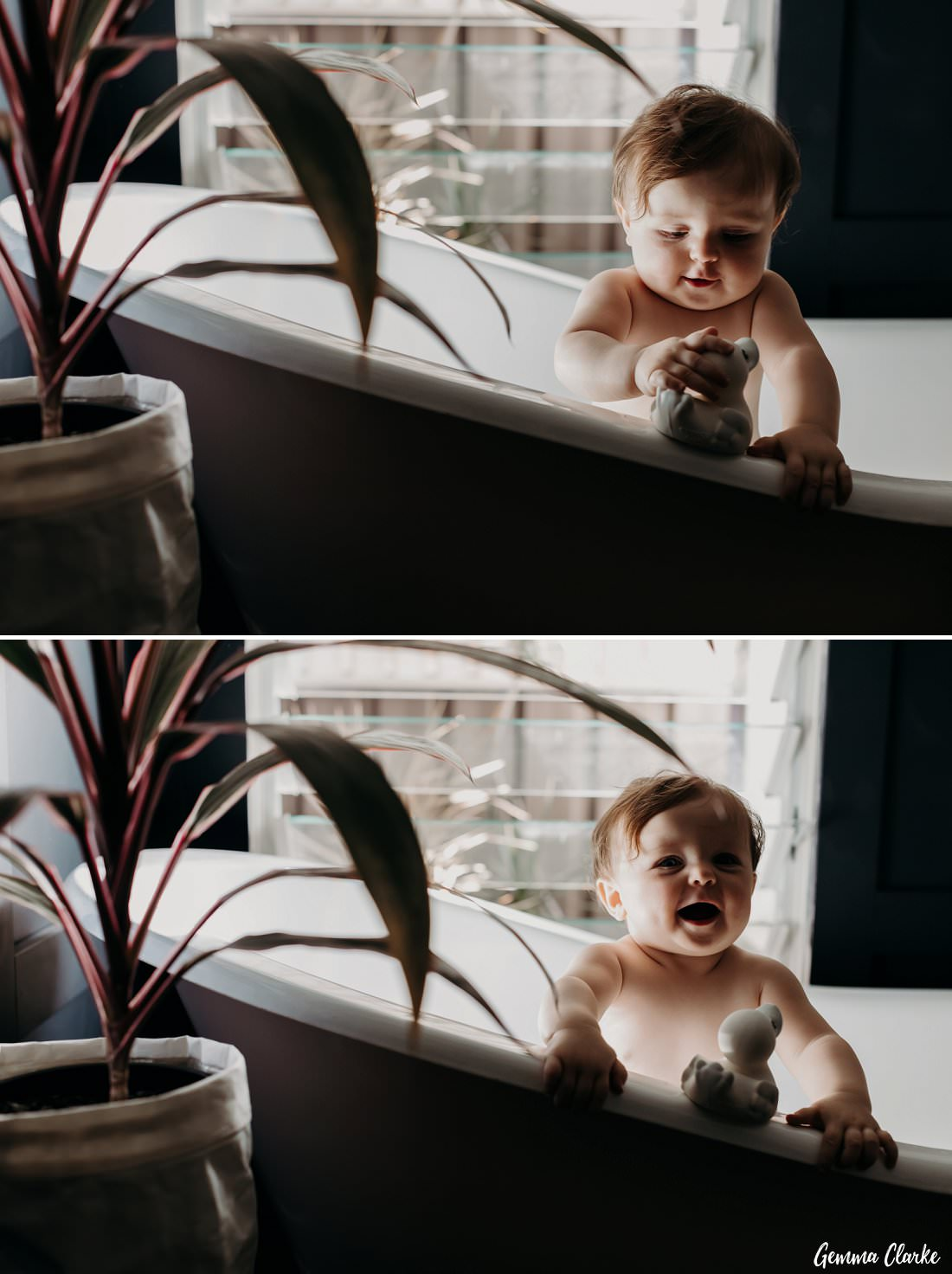 Antique Bath photoshoot featuring a gorgeous nine month old baby playing with white rubber duckie