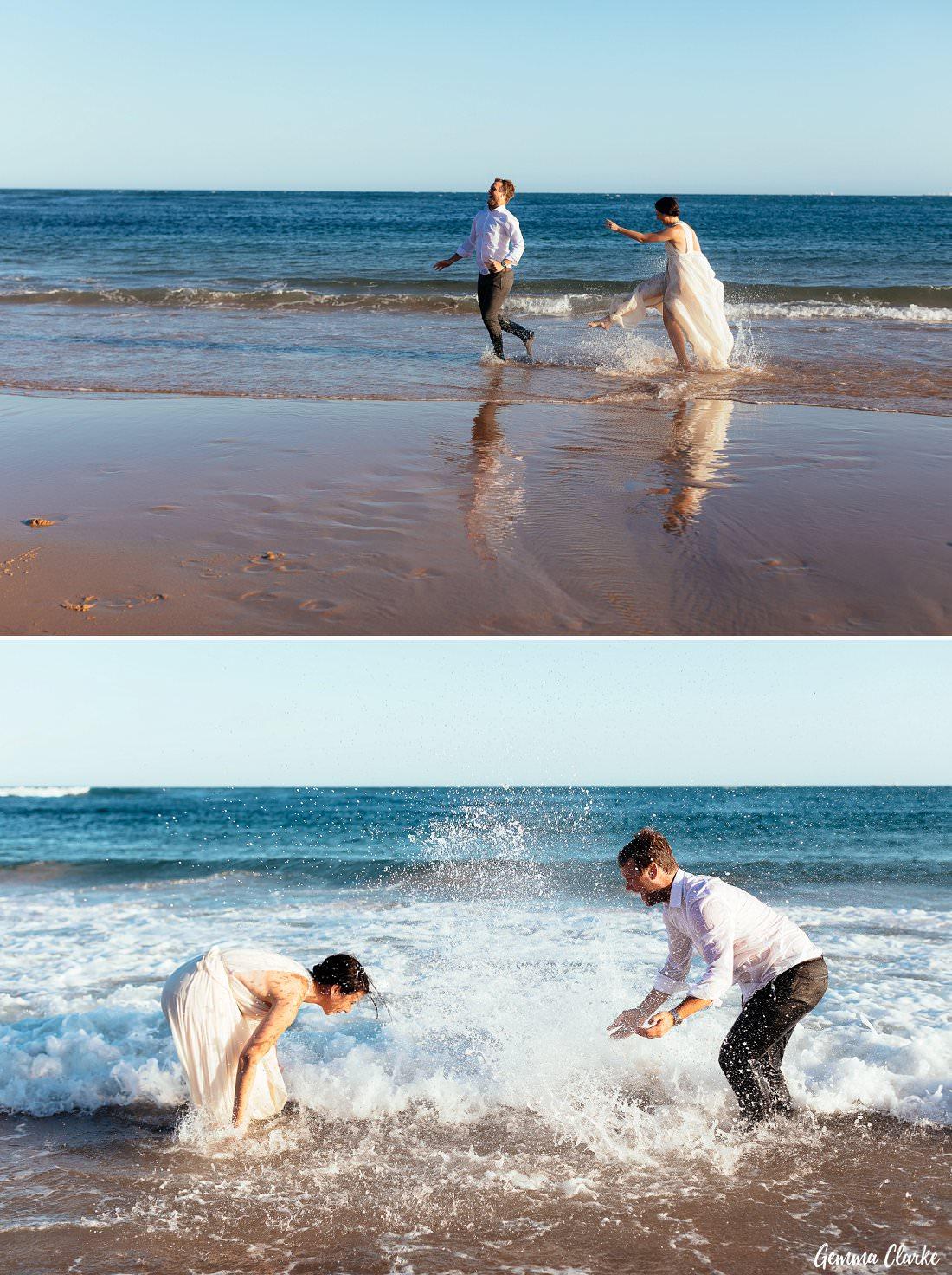 Gemma and Hayden had so much fun splashing around at their Bulli elopement