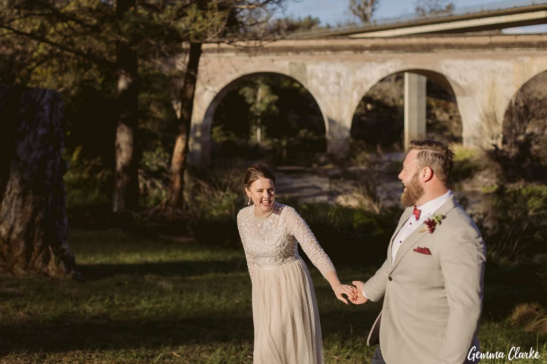 Loving the moments of the bride and groom just after they said their personalised vows in the sunset light for their Buxton wedding