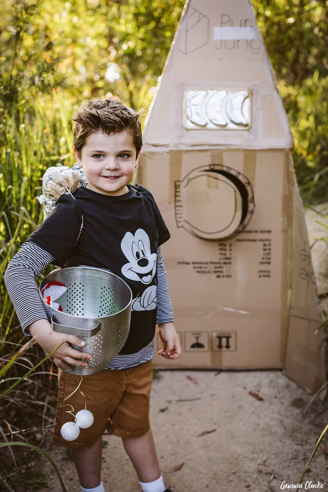 Henry the Spaceman ready to go on his mission in his rocket at his space themed photoshoot
