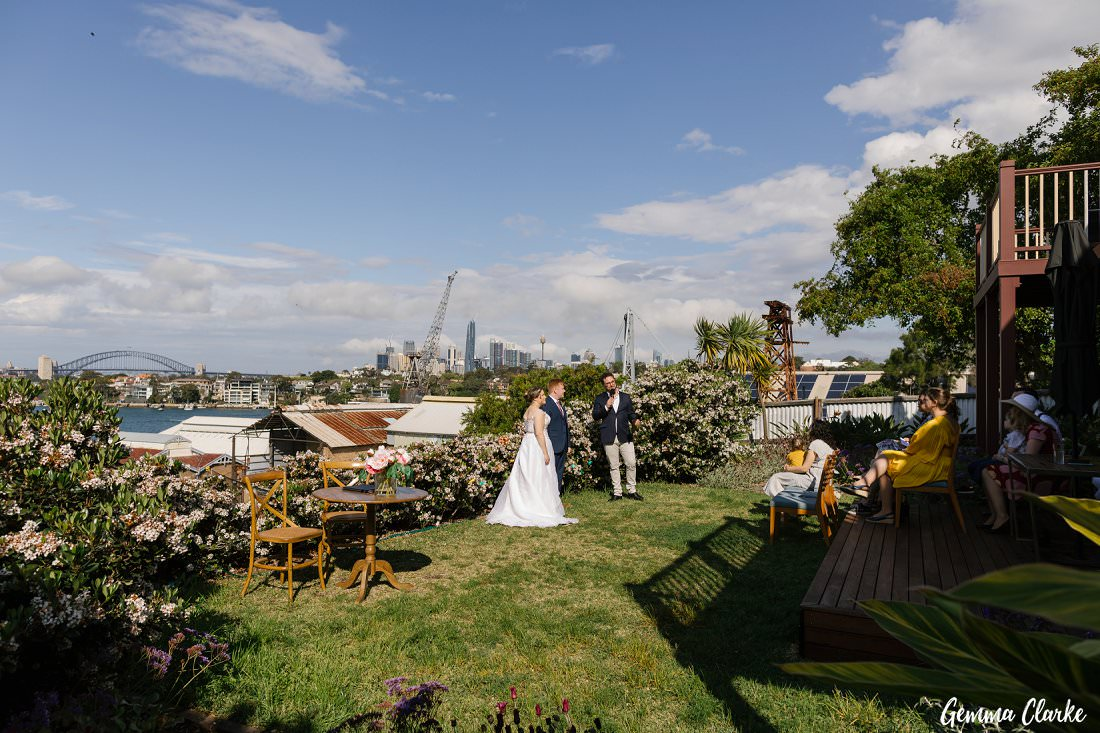 Just nine guests sitting in the shade of the deck for this intimate Cockatoo Island Elopement