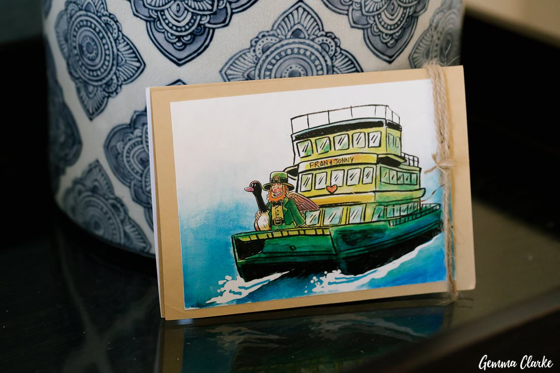 A very creative invitation representing their Irish and Canadian backgrounds and the ferry for their Cockatoo Island Elopement
