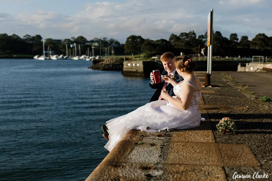 Celebrating with tea and biscuits by the water was the number one photo they wanted at their Cockatoo Island Elopement